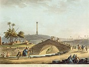 Bridge over the canal in Alexandria, 1804, by Luigi Mayer, Egypt 19th Century. Engraving.  Paris, Bibliothèque Des Arts Decoratifs (Library)