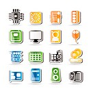 Simple Computer Performance and Equipment Icons _ Vector Icon Set