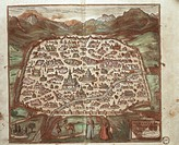 Cartography, Syria, 16th century. The city of Damascus. From Civitates Orbis Terrarum by Georg Braun (1541-1622) and Franz Hogenberg (1540-1590), Colo...