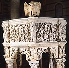 Pergamon or Pulpit, 1301-1310, by Giovanni Pisano (ca 1248-ca 1315), marble. Cathedral of Pisa, Tuscany. Detail.