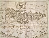 Cartography, Italy, 17th century. Map of Benevento. Engraving from a design by Piperno with a dedication to the Archbishop Foppa.  Benevento, Museo De...