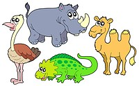 Zoo animals collection _ isolated illustration.