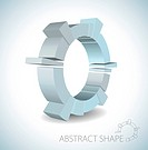 Light blue abstract 3D shape on light background