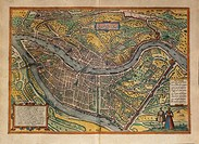 Cartography, France, 16th century. Map of Lyon. From Civitates Orbis Terrarum by Georg Braun (1541-1622) and Franz Hogenberg (1540-1590), Cologne. Eng...