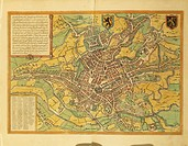 Cartography, Belgium, 16th century. Map of Ghent (Gand). From Civitates Orbis Terrarum by Georg Braun (1541-1622) and Franz Hogenberg (1540-1590), Col...