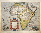 Cartography, 16th century. Map of Africa, from Theatrum Orbis Terrarum by Abraham Ortelius (1528-1598), Antwerp, 1570.  Genoa Pegli, Civico Museo Nava...