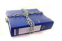 closed file folder with a chain on a white background