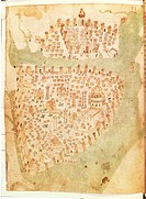 Cartography, Turkey, 15th century. Map of Constantinople created by Christopher Buondelmonti.  London, British Museum