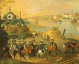 View of Warsaw with the Vistola River, Poland 19th century.