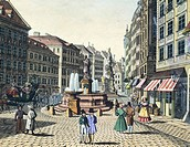 Graben Street (Ditch Street) in Vienna, Austria 19th Century.