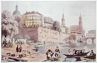 View of Dresden, 1850, Germany 19th Century.