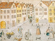 Square of a small town, Germany 18th Century.  Paris, Bibliothèque Des Arts Decoratifs (Library)