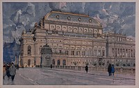 Czech Republic, 20th century. Prague. The National Theatre. Watercolour.  Prague, Národní Muzeum (Archaeological, Art And Natural Museum)