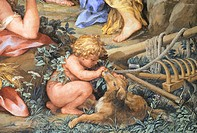 The Silver Age or rather the quiet life devoted to sheep farming and agriculture, detail from The Four Ages of Man, 1637-1640, by Pietro da Cortona (1...