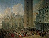 St Mark's Square in Venice, 1722, by Luke Carlevarijs (1663-1730), oil on canvas, Italy 18th century, detail.  Private Collection