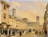 Cathedral Square in Cremona, before 1836, by Carlo Gilio Rimoldi 1787_1841, watercolor on paper, Italy, 19th Century