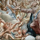 Angels playing music, detail of the Assumption of the Virgin, 1526-1530, by Antonio Allegri, known as Correggio (1489-ca 1534), fresco. Cathedral of S...