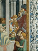 Stories of St. Augustine: Teacher and pupils, 1465, by Benozzo Gozzoli 1421_1497, fresco, Church of St. Augustine, San Gimignano, Siena, Italy