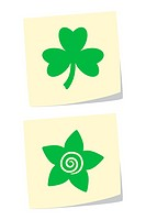 Vector Illustration of Clover and Flower Icons