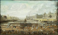 France, 17th century. Paris. Pont Neuf and the Louvre, about 1680. Unknown artist.  Paris, Hôtel Carnavalet (Art Museum)