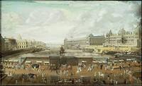 France, 17th century. Paris. Pont Neuf and the Louvre, about 1680. Unknown artist.  Paris, Hôtel Carnavalet (Art Museum)