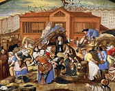 France, 17th century. Fish auction at Halles, the Paris general markets ended in 20th century. Unknown artist. Details.  Paris, Hôtel Carnavalet (Art ...