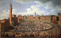 Giuseppe Zocchi (1711-1767), Il Palio di Siena run in honor of Francis I and Maria Theresa of Austria on April 3rd, 1739. Seen from Piazza del Campo. ...