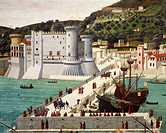 Aragonese fleet returning to Naples victorious after the Battle of Ischia 12 July 1465, from a plate by Strozzi, ca 1472, attributed to Francesco Ross...