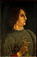 Portrait of Galeazzo Maria Sforza, ca 1471, by Piero Pollaiuolo (ca 1441- post 1485), tempera on wood, 65x42 cm.  Florence, Galleria Degli Uffizi (Uff...