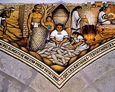 Indians harvesting corn, a mural painting in the Governor of Tlaxcala's Palace by Desiderio Hernandez Xochitiotzin (1922-2005), 1961, Mexico 20th cent...