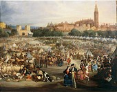Andre Cortes y Aguilar (1810-1879) The Fair of Seville, 1882. The Cathedral and the Giralda in the background.  Bilbao, Museo De Bellas Artes De Bilba...