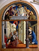 Panel showing the Annunciation, ca 1460, by Girolamo di Giovanni of Camerino (ca 1449-1473).  Camerino, Museo E Pinacoteca Civica (Art Museum, Paintin...
