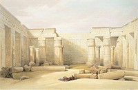 The Temple of Medinet Abu in Tebe, by David Roberts, Egypt 19th Century. Engraving.