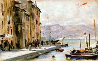 Ligurian village, 1877-1880, by Francesco Vinea (1845-1902), oil on panel, 9x15 cm.  Private Collection