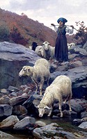 Sheep drinking from Restano River by Stefano Bruzzi 1835_1911, oil on canvas, 108x70 cm, circa 1885