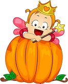 Illustration of a Baby Girl Dressed as a Fairy on a Pumpkin _ eps8