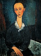 Woman in white collar, portrait of Lunia Czechowska, 1917, by Amedeo Modigliani (1884-1920), oil on canvas, 81x60 cm.  Grenoble, Musée De Grenoble (Pi...
