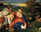 The Madonna of the Rabbit, 1530, by Titian (ca 1490-1576), oil on canvas, 71x85 cm.  Paris, Musée Du Louvre
