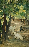 Avenue with Oxen and Stonebreaker, by Giovanni Fattori (1825-1908).  Private Collection