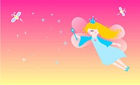 Cute fairy over a starry background. Vector available