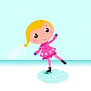 Cute little Christmas Girl ice skating. Vector cartoon Illustration.