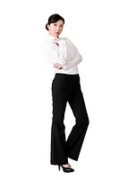 Confident business woman of Chinese, full length portrait isolated over white background.