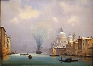 Italy, Venice covered in snow by Ippolito Caffi