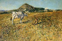Pasture in Pietramala, 1889, by Telemaco Signorini (1835-1901), oil on canvas, 120 × 175.  Florence, Palazzo Pitti (Pitti Palace) Galleria D'Arte Mode...