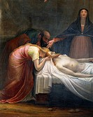 Lamentation over the Dead Christ, 1798-99, by Antonio Canova (1757-1822), oil on canvas. Detail. Canova Temple, Possagno, Treviso.