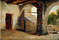Arched country courtyard, by Enrico Junck (1849-1878), oil on panel, 27x40 cm.  Milano, Quadreria Dell'Ospedale Maggiore