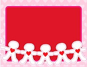 A line of paper dolls with hearts on their chests on a red background