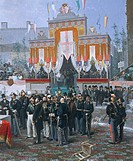 The laying of the cornerstone of the Galleria Vittorio Emanuele in Milan, 1865, by Domenico Induno (1815-1878), oil on canvas. Detail.  Milan, Civico ...