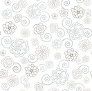 Seamless pattern with floral ornate on the white background. Global colors.