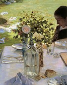 Breakfast in the garden, 1883, by Giuseppe de Nittis (1846-1884), oil on canvas, 81x117 cm. Detail.  Barletta, Museo Civico E Pinacoteca 'G. De Nittis...